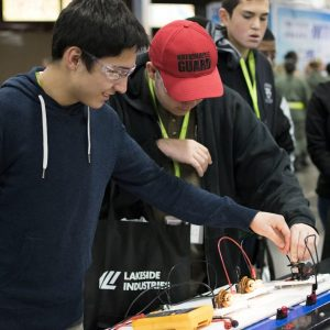 Students interact with exhibits at the 10th annual Pierce County Career Day on Nov. 8, 2017.